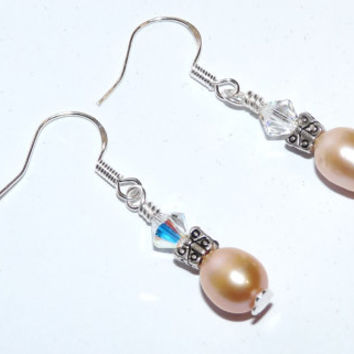 Peach Freshwater Pearls and Silver Earrings, Swarovski Crystals, 925 Sterling Silver, Tibetan Silver, Bridesmaid, Silver Jewelry
