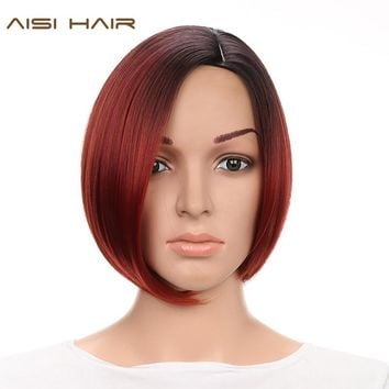 AISI HAIR Short Synthetic Ombre Wigs for Black Women Straight Bob Hairstyle With Heat Resistant