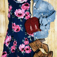 Swaying and Swooping Floral Pocket Tank Dress