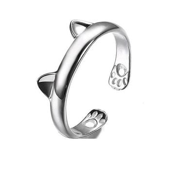 Cute Cat Ear Claw Open Ring