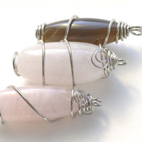 Wire Wrapped Long Oval Nugget Pendant Polished Agate/Crystal/Rose Quartz High Quality Set of 1