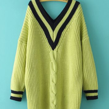 Korean College Style V-neck Striped Twisted Casual Knit Sweater Dress