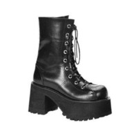 Pleaser Female 3 1/2 Inch Platform Goth Punk Gogo Blk Pu Calf Boot With Zipper RAN301