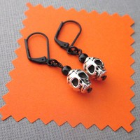 Skull Bead Earrings Black Leverback Wires TierraCast Antiqued Silver