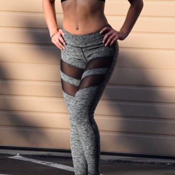 Women Workout Fitness Leggings Pants Jumpsuit Clothes Long Leggings Gray Mesh Patchwork