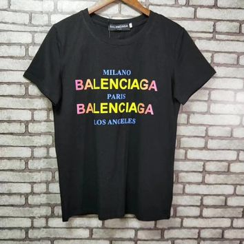 """Balenciaga"" Woman Fashion Casual Short-Sleeved Multicolor Gradient Color Letter Printed Round Neck   Top"