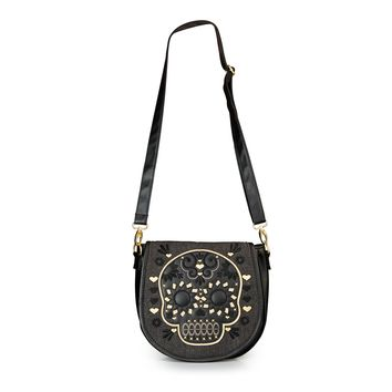 Loungefly Gold/Black Sugar Skull Denim Crossbody Bag - Bags