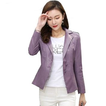 Single Washed PU Leather Jacket