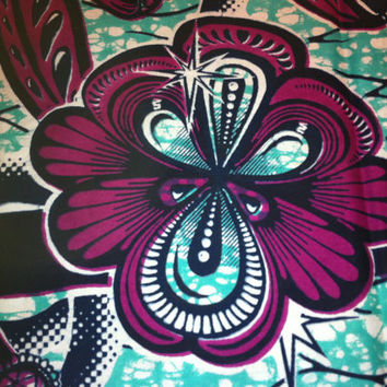 VLISCO Dutch African Wax Print Fabric by the HALF YARD. Eggplant and Turquoise, Floral and Bling