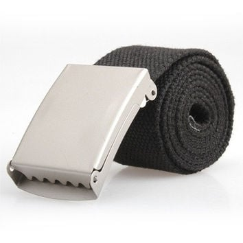 Man Fashion BOY Webbing Web Military Style Canvas Tan Belt Metal Buckle Hot(bet length 108 cmFit till 40inches waist) (Size: 108 cm) [9210700035]