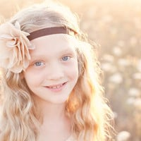 beige chiffon flower headband for women and girls