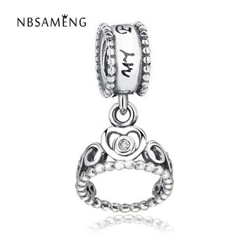 925 Sterling Silver Bead Charm Crystal Princess Crown Charms Fit Women Original Pandora Diy Bracelets & Bangles Jewelry YW20004