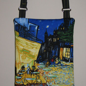 "Quilted Cross Body Purse , Small Shoulder Bag , Vincent Van Gogh ""Cafe Terrace on the Place du Forum"""