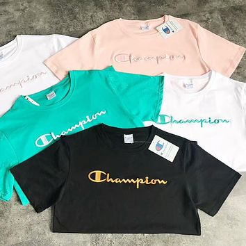 Champion Fresh Colorful Simple Women Men Embroidery Tee Shirt Top B-AA-XDD Five Color