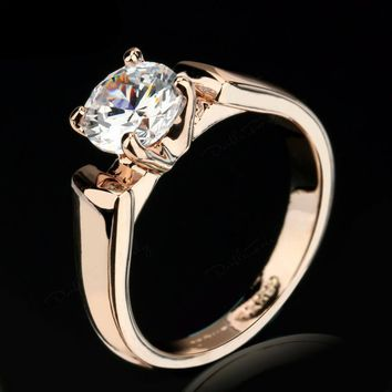 1.25 Carat Round Engagement Rings Silver/Rose Gold Color For Men/Women