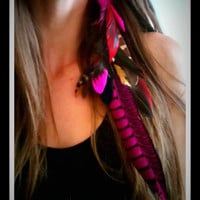 Long Feather, Hair, Extension, Feather Hair Extension, Feather Headdress, Bohemian, pink, Native, Nature , Feather Hair clip, peacock