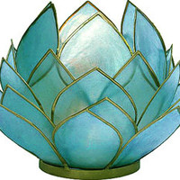 Turquoise Blue Full Bloom Capiz Lotus Candle Holder (gold edged)