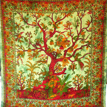 Tree Of Life Wall Art, Indian Tapestry, Bohemian Tapestry, Hippie Wall Hanging, Picnic Blanket, Indian Purple Queen Home Decor Art