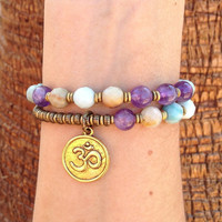 Confidence and Healing, Amazonite and Amethyst gemstone 27 beads mala bracelet™ with Om charm