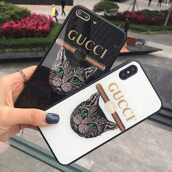 GUCCI The new gucci iphone7/8 popular logo, the iphone  6plus glass soft glue x case. Black