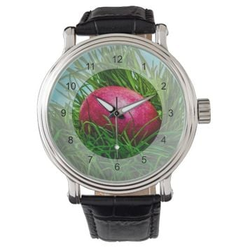 Red Easter egg in the grass Wrist Watch