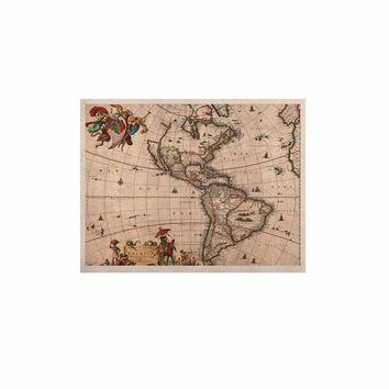 """Bruce Stanfield """"Vintage Map Of The America's """" Brown Green KESS Naturals Canvas (Frame not Included)"""