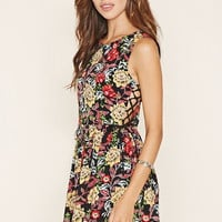 Floral Lace-Up Skater Dress | Forever 21 - 2000152274