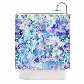 "Carolyn Greifeld ""Floral Fantasy Blue"" Purple White Shower Curtain"