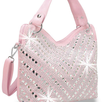 * Rhinestone Chevron Design Handbag In Pink