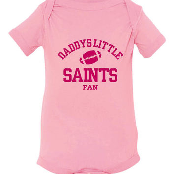 DADDYS LITTLE SAINTS Fan Girls Pink Toddler Shirt Or Creepers New Orleans Saints Fan Football Tshirt