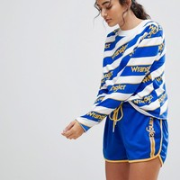 Wrangler Blue and Yellow Sport Stripe Sweatshirt at asos.com