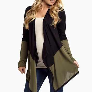 Black-Olive-Colorblock-Maternity-Cardigan