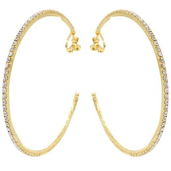 CHIC! Classic Traditional Crystal Gold Hoop Clip On Earrings