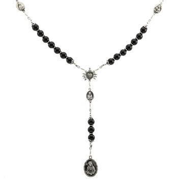 """Sterling Silver 7 Sorrows Rosary Onyx 8mm Large 7 Sorrows Medal Set 32"""" Necklace Prayer beads"""