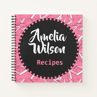 White and Black Zigzags on Pink Notebook