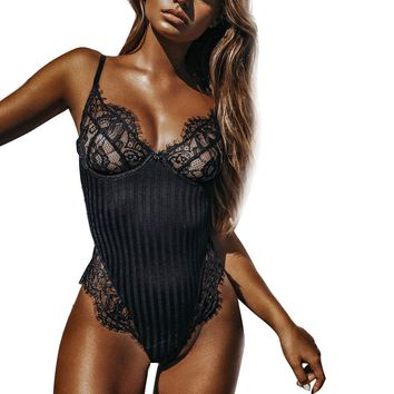 Women Sexy Solid Black Lace Floral Splicing Bodysuit Spaghetti Strap Striped Cut Out Romper Deep V Neck Club Jumpsuits