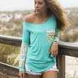 Havana Nights Mint Neon Tribal Sequin Sleeve Pocket Top