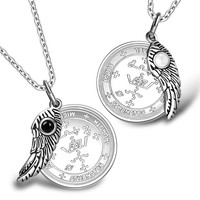 Love Couples Archangel Michael Sigils Amulets Set Angel Wings Simulated Onyx White Cats Eye Necklaces
