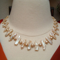 Magnificent Vintage Designer Signed 14kt Gold Cultured Freshwater Natural Keshi Pearl Necklace