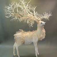 White Stag - original handmade OOAK clay art sculpture