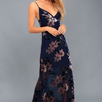 Midnight Love Navy Blue Velvet Floral Print Maxi Dress