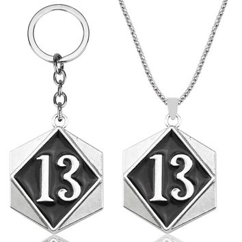 """Men's Gold Color Vintage Biker Lucky Number 13 Tag Pendant Necklace with 24"""" Chain Stainless Steel punk Necklaces for Men Gift"""
