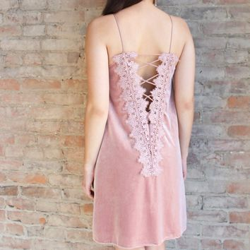 Montparnasse Reversible Velvet Dress - blush