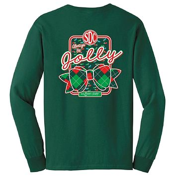 Southern Darlin Always Be Jolly Christmas Xmas Lights Plaid Bow Black Longsleeve Bright Girlie T-Shirt