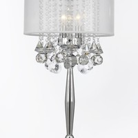 Silver Mist 3 Light Chrome Crystal Table Lamp with White Shade Contemporary Modern Desk,Bedside,Living Room,For Bedroom,Buffet