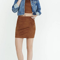 Brown Faux Suede Stretch Mini Skirt from EXPRESS