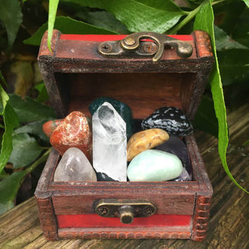 Red Mini Chest (3in x 2in) Filled With 14 Tumbled Stones And A Quartz Crystal Point