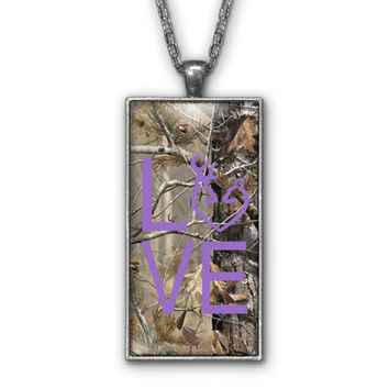 Purple Camo Love Browning Pendant Necklace Jewelry