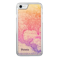 Vintage Map North America Neon Colors Your Name Carved iPhone 7 Case