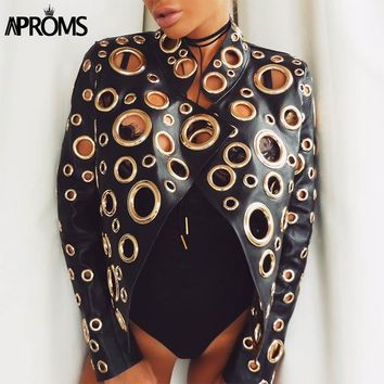 Aproms Ladies Punk Hippie Gold Color Moto Jacket  Autumn Stand Collar PU Leather Coats 2017 Women Harajuku Brand Outwear Coat